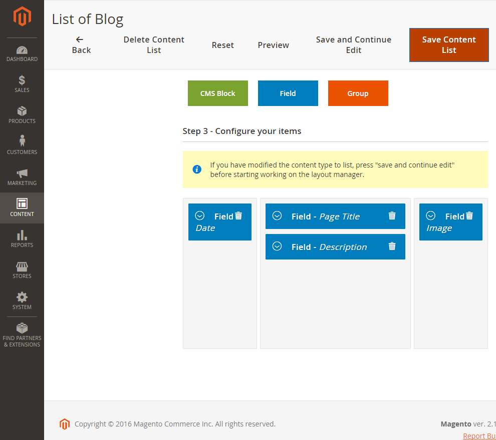 Content list Layout manager