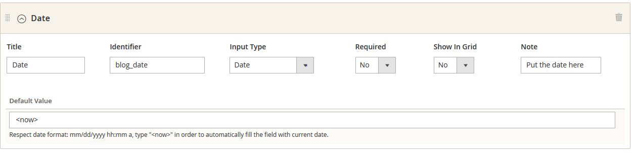 type of field: text