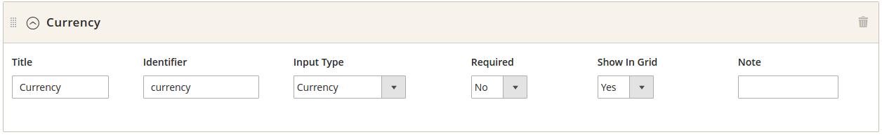Custom field : currency settings