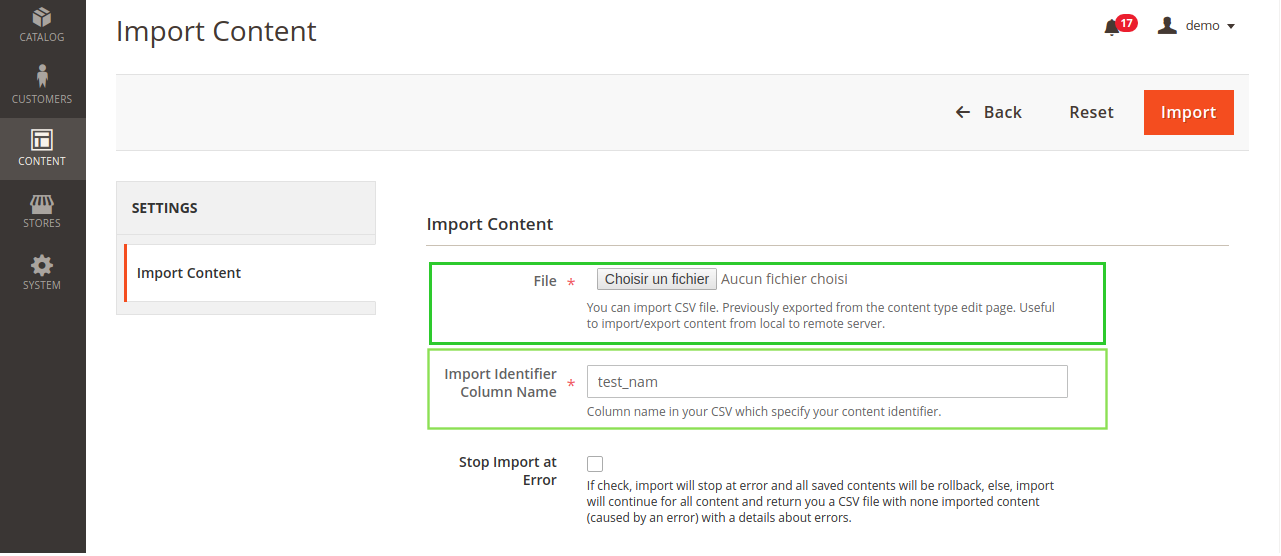 importing contents